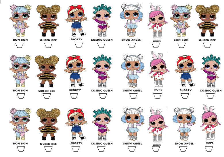24 X Lol Surprise Dolls Edible Rice Cup Cake Stand Up