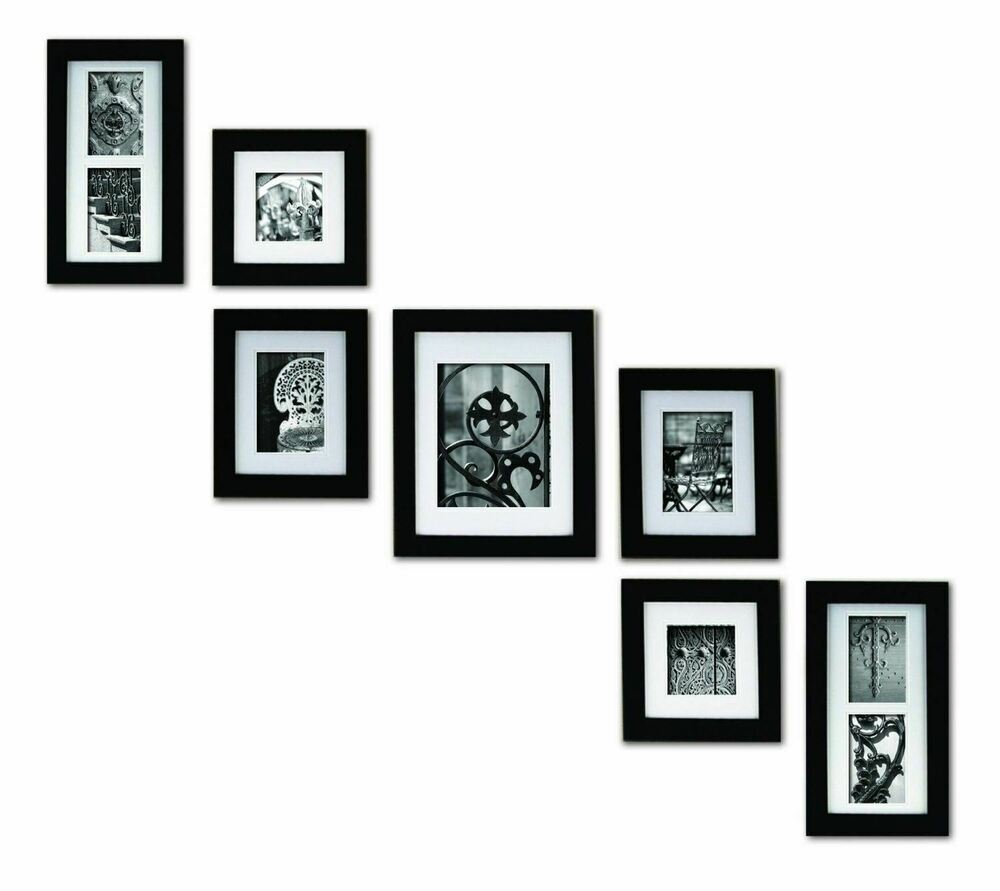 Set 7 Black Wooden Picture Photo Frames Frame Staircase Wall