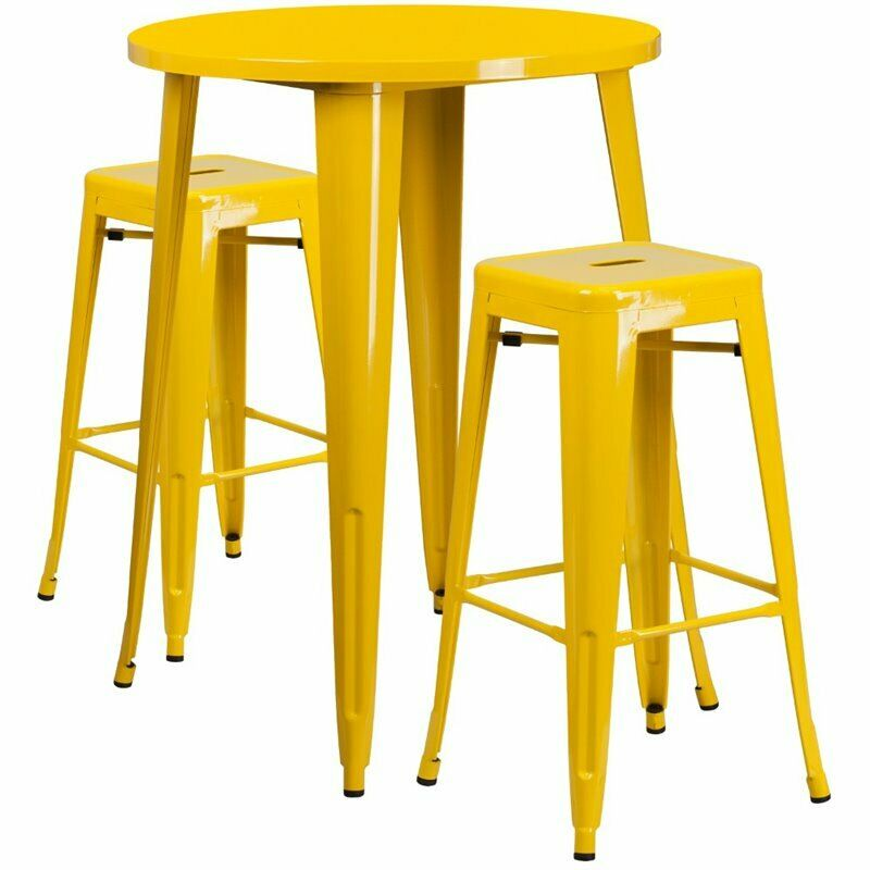 Details About Flash Furniture Round Patio Bistro Set In Yellow