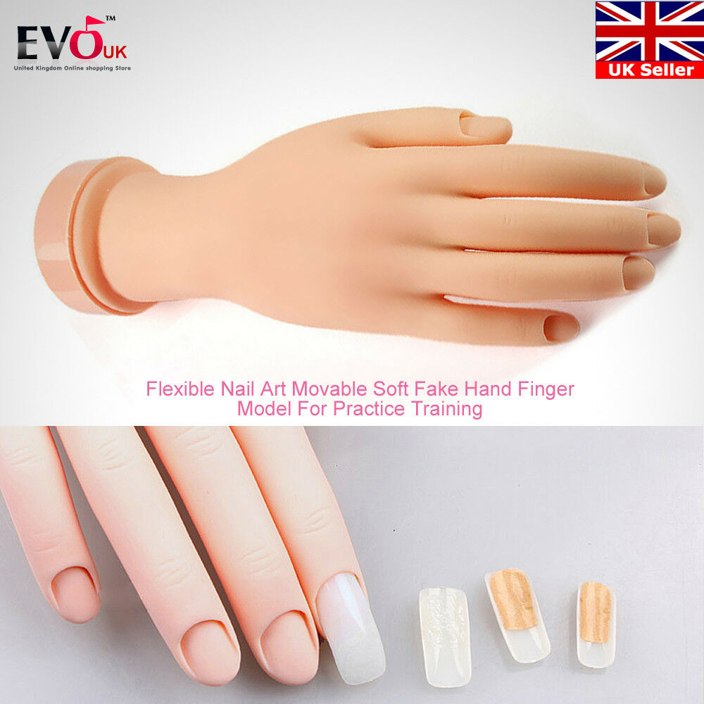 Flexible Nail Art Practice Re-used Fake Hand Model for Manicure ...