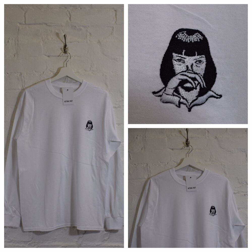 c4506289d Details about Actual Fact Pulp Fiction x Mia Wallace Cocaine White Long  Sleeve Tee T-shirt