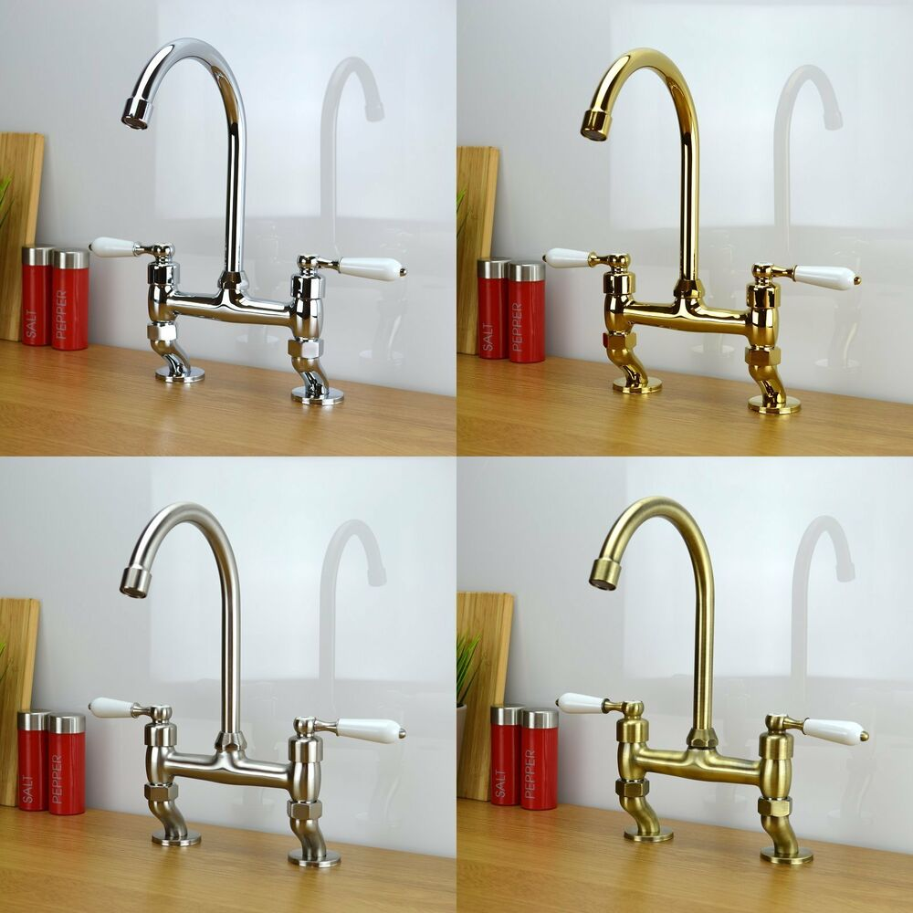 kitchen sink taps ebay enki traditional white lever bridge taps kitchen sink 5987