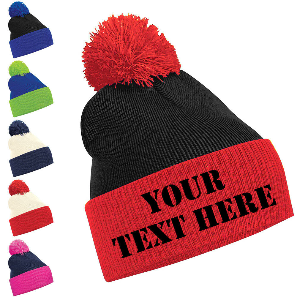Details about Personalised Two Tone Pom Pom Beanie Bobble Hat With Name  Slogan Personalised 2249a61f3be