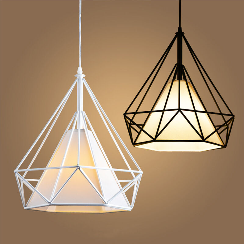 Modern birdcage metal cage minimalist pyramid pendant light hanging modern birdcage metal cage minimalist pyramid pendant light hanging ceiling lamp ebay aloadofball Image collections