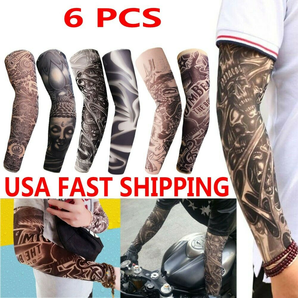 091f6514be Details about 6 pcs Tattoos Cooling Arm Sleeves Cover Sport Basketball Golf  UV Sun Protection