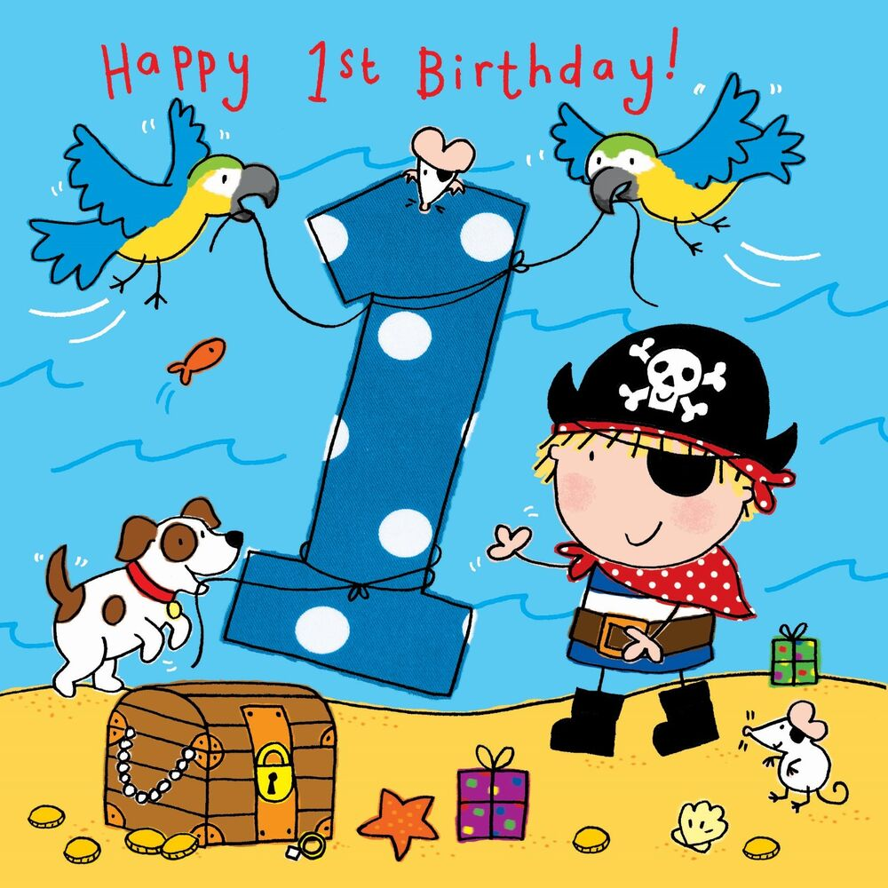 Details About 1 Year Old Card Age 1st Birthday For Boy Pirate