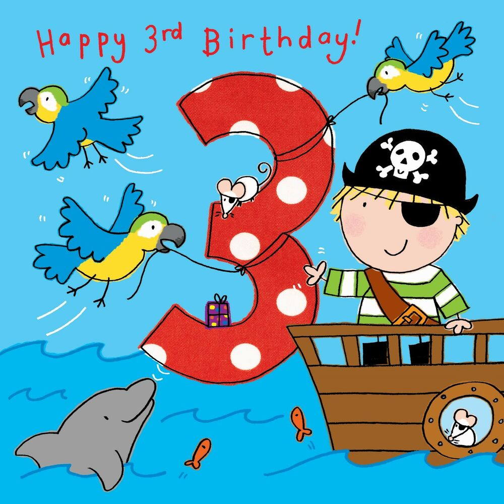 Details About 3 Year Old Card Age 3rd Birthday For Boy Pirate