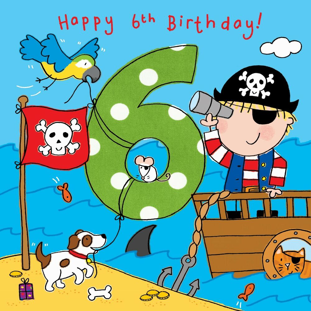 Details About 6 Year Old Card Age 6th Birthday For Boy Pirate