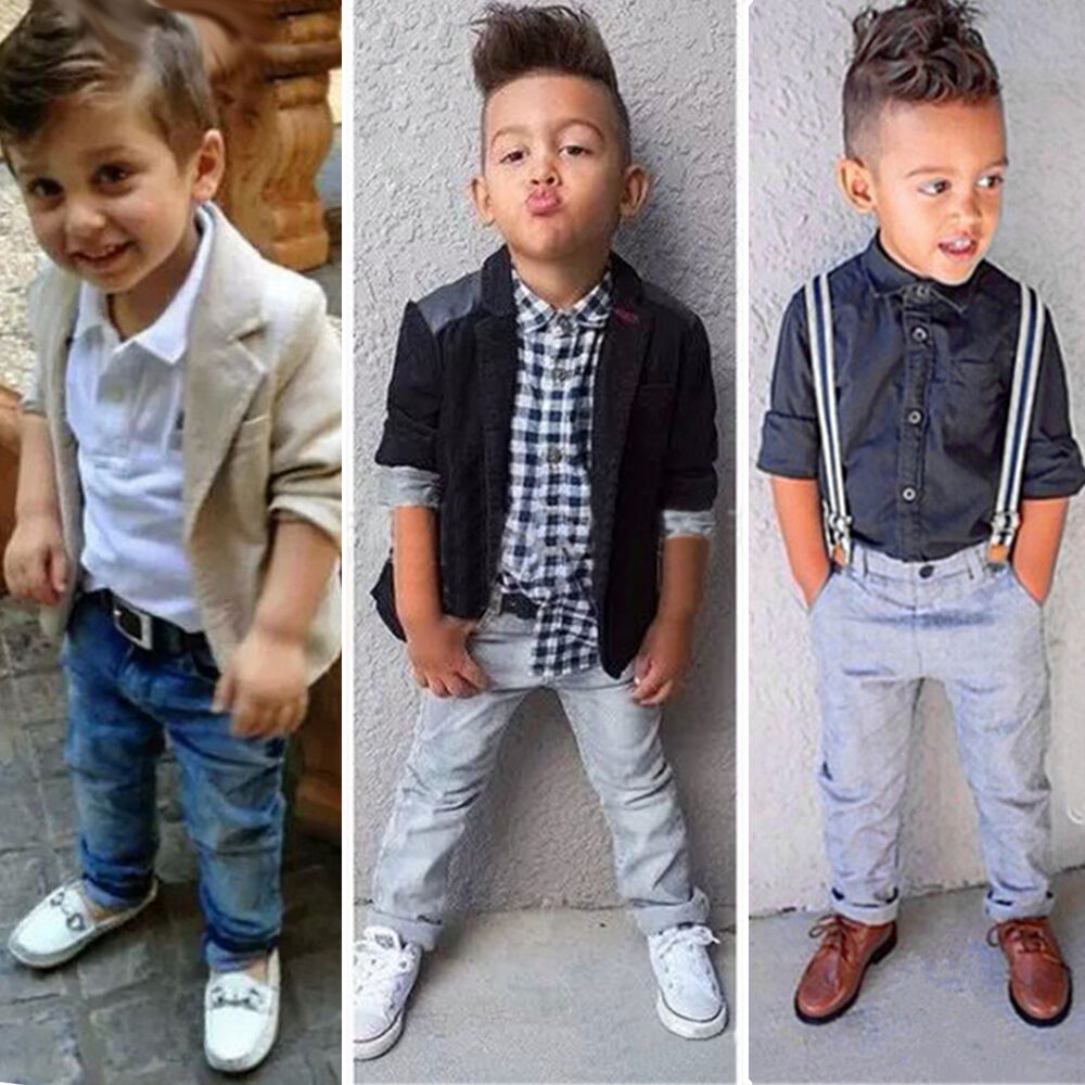 Kids Baby Boys Dress Shirt Blazer Coat Pants Trousers