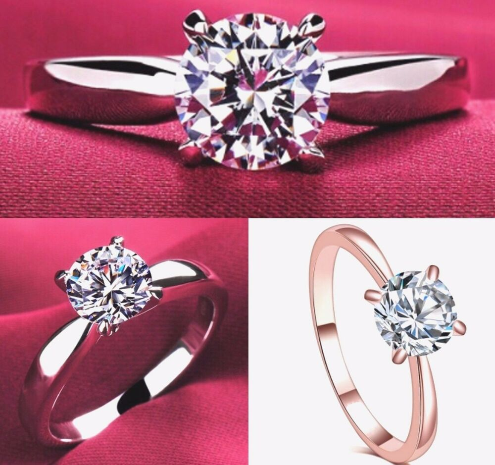 New Cubic Zirconia Rose Gold or Silver Plated Womens Engagement Ring ...
