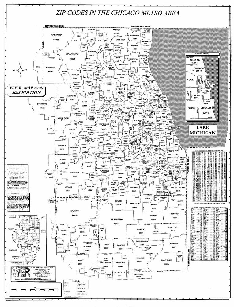 Chicago Metro Il Laminated Zip Code Wall Map Ebay