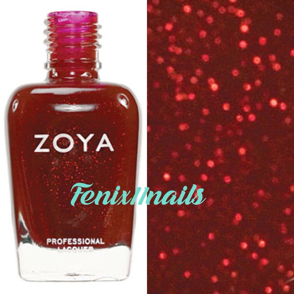 ZOYA ZP209 DELILAH bright cherry red glitter nail polish lacquer ...