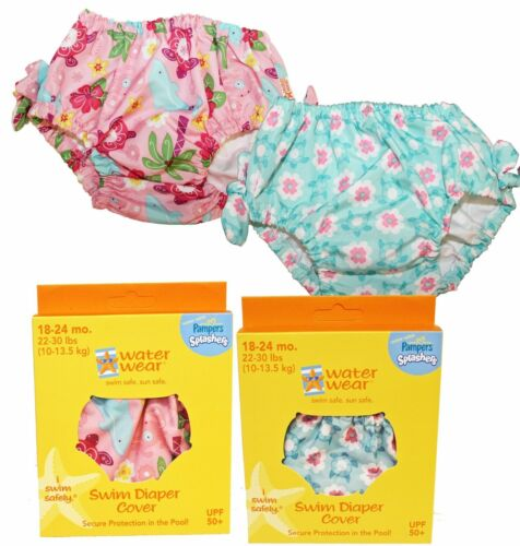 2 Assorted Girl's Washable Swim Diaper Cover Covers UPF50+ Size 18-24 M 22-30lbs