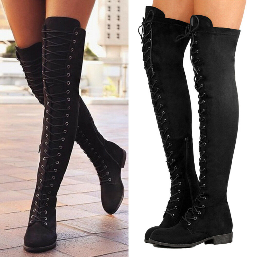 Women Black Lace Up Side Zip Over The Knee Boots Thigh High Combat Low Heel Shoe  Ebay-5356