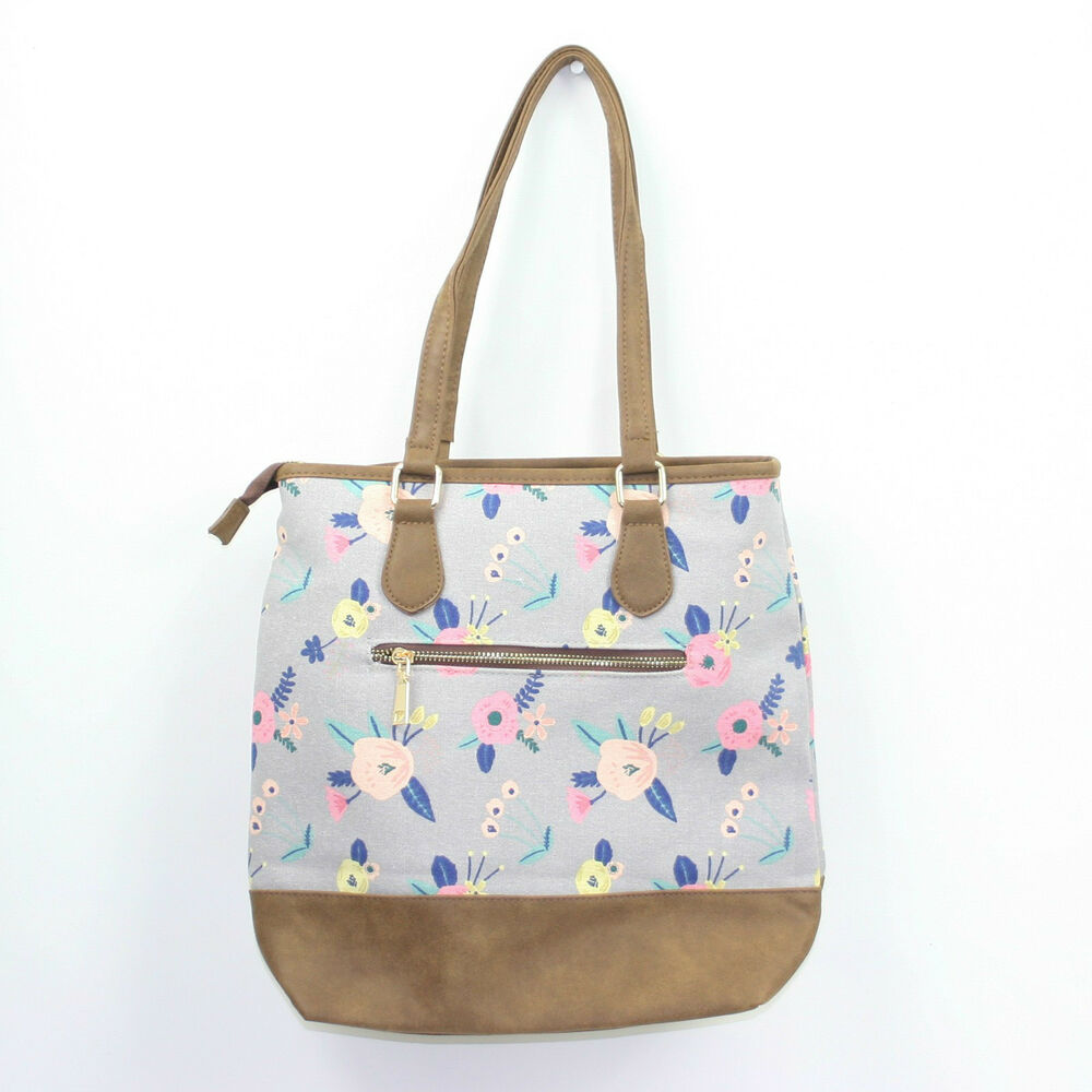 7b8692ce28 Details about Ladies Canvas Small Casual Day Tote Shopper Bag in a Pretty  Grey Floral Print