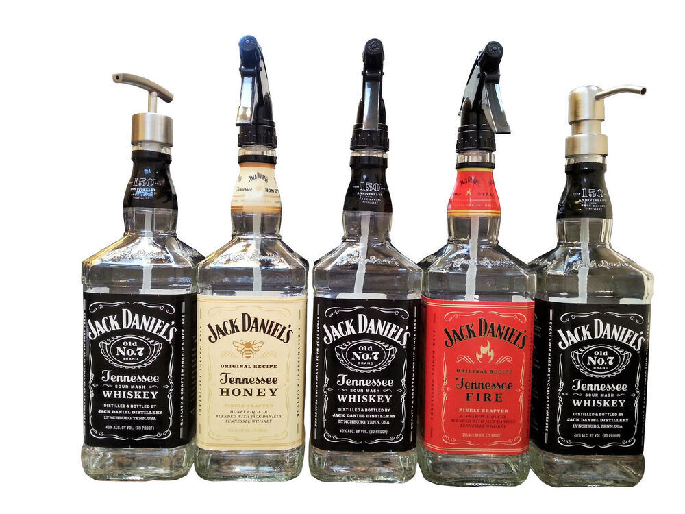 Clear Coat Jack Daniels Whiskey Soap Dispenser Glass