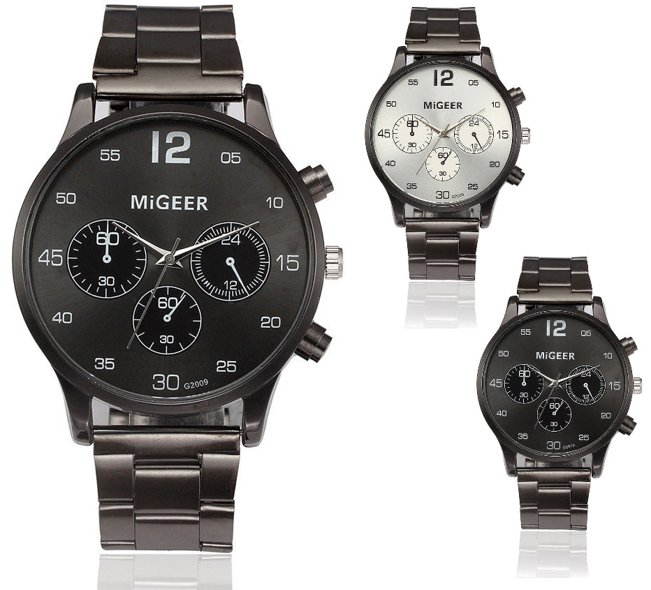 Migeer mens pilot navigator aviation 40mm stainless steel quartz sports watch ebay for Watches 40mm