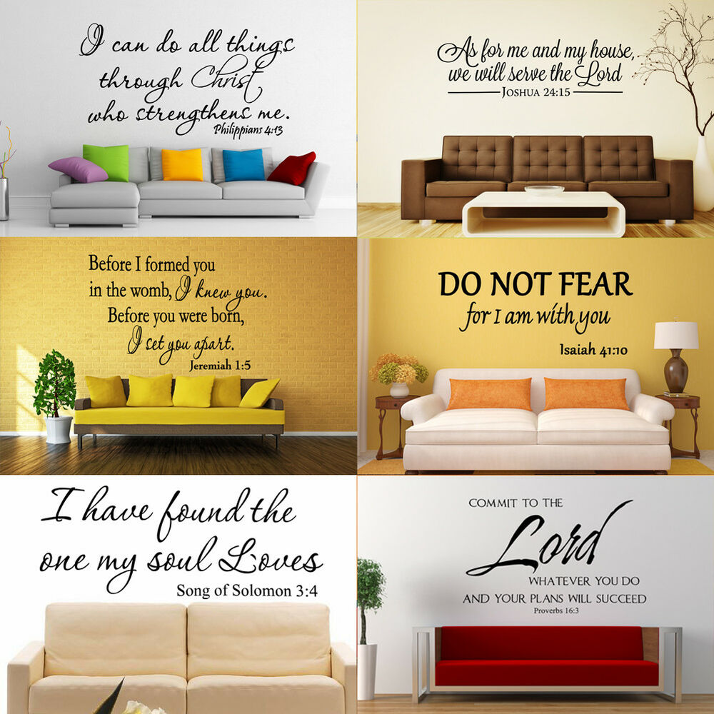 Bible Verse Wall Decals Christian Quote Vinyl Wall Art Stickers ...