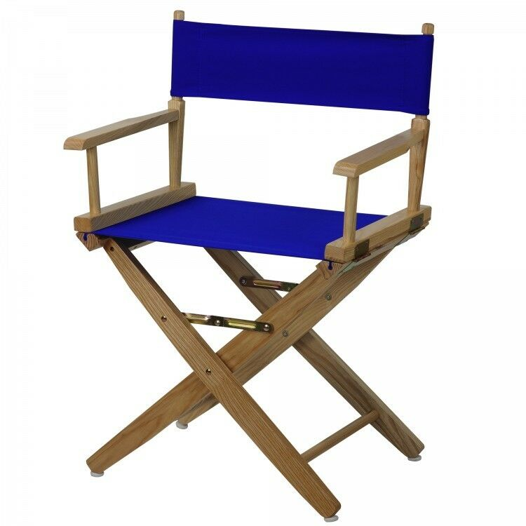 Details About Wooden Directors Chair Portable Folding Wood Royal Blue Canvas Kitchen Outdoor