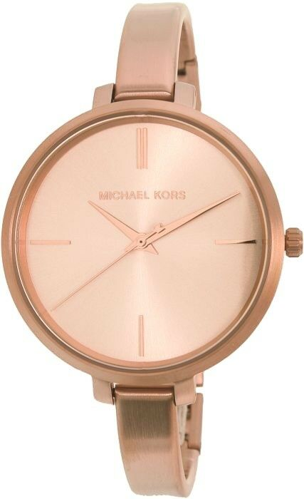 New Michael Kors Mk3547 Jaryn Rose Gold Tone Three Hand Bracelet