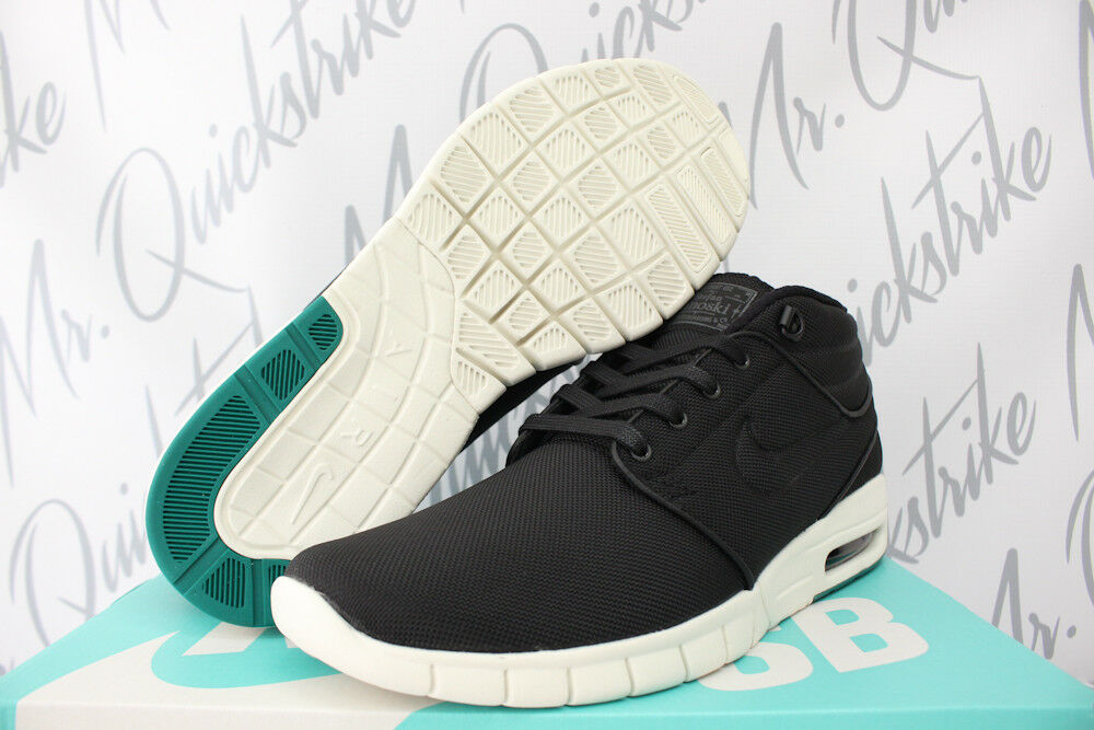 aceb9ce5e0c60 Details about NIKE SB STEFAN JANOSKI MAX MID SZ 9.5 BLACK NEPTUNE GREEN  WHITE ZOOM 807507 003