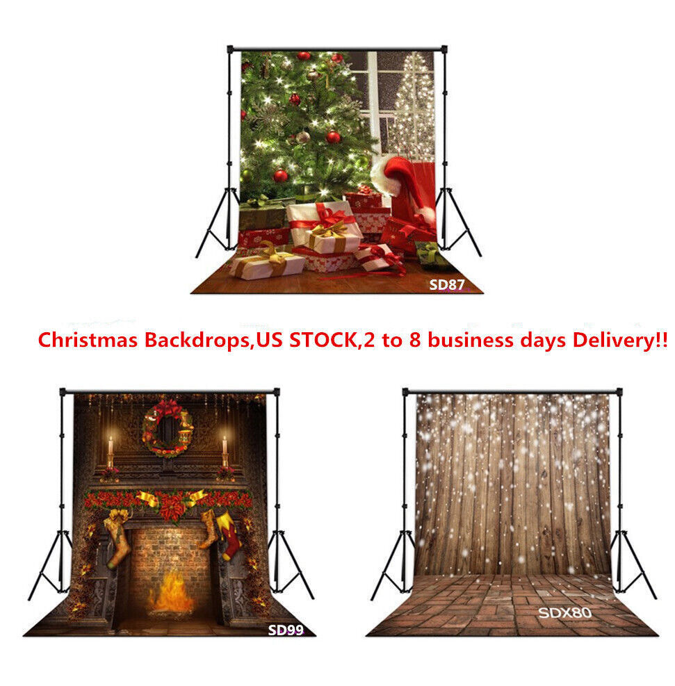 US 10X10FT 5X7FT XMAS Tree Ball Fireplace Vinyl Photo Background ...