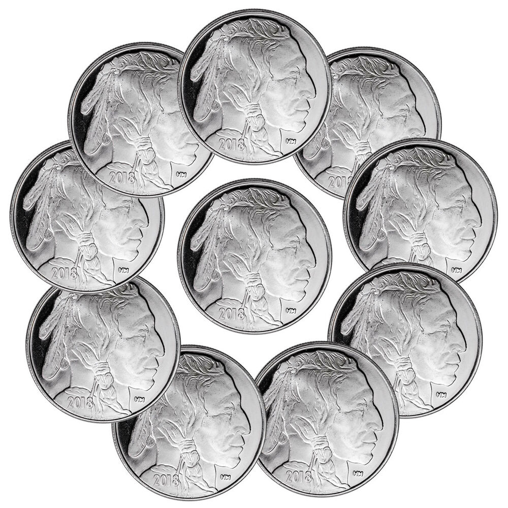 Lot Of 10 2018 Highland Mint Buffalo Nickel Design 1 Oz