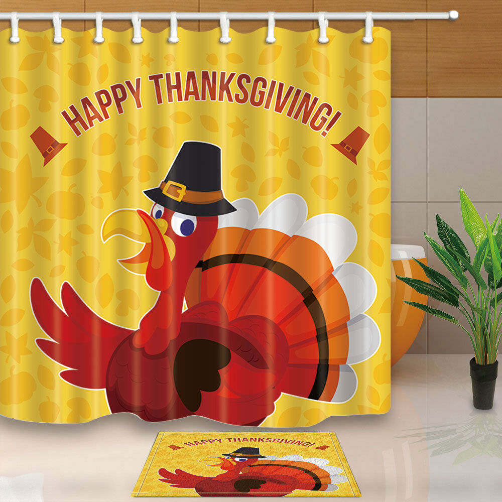 Details About Happy Thanksgiving Day Turkey Bathroom Fabric Shower Curtain With Hook 180x180cm