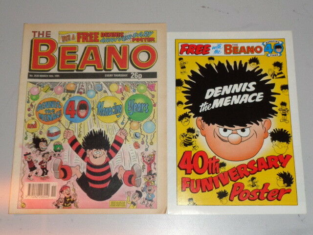 Beano 2539 16th March 1991 British Weekly Dennis The Menace With