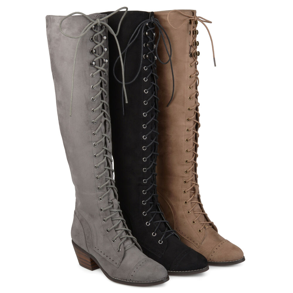 6f04ced0e78d Details about Brinley Co Womens Standard and Wide Calf Over the knee Lace  up Brogue Boots New