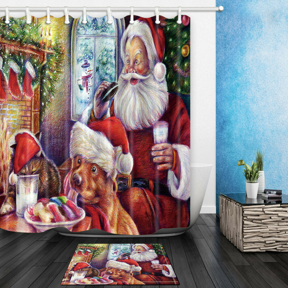 Details About Merry Christmas Santa Claus Dog And Squirrel Bathroom Fabric Shower Curtain 71In