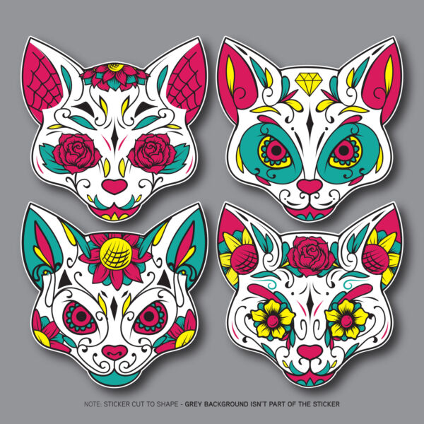 Day Of The Dead Cat - Calavera - Sugar Skull Flower - Sticker - Decals/Stickers
