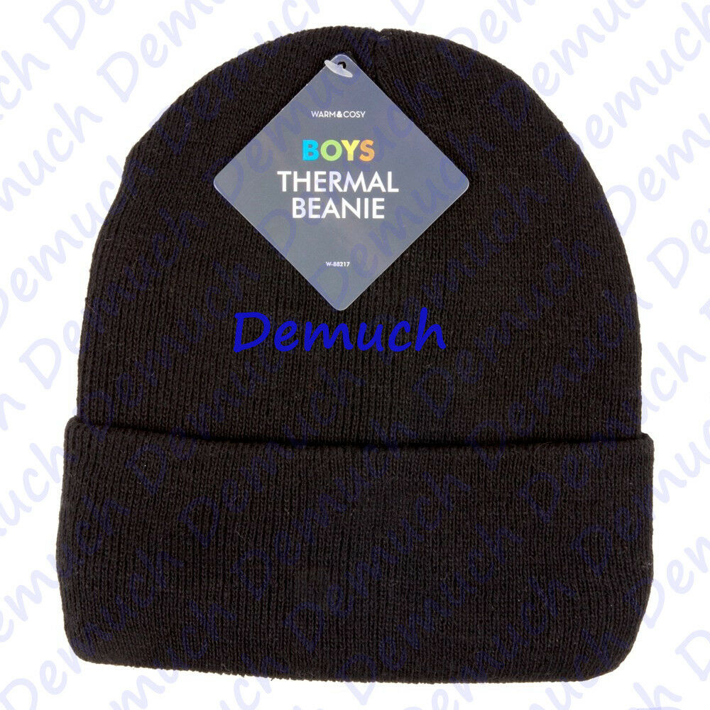 Details about New Kids Black Thermal Beanie Hat Warm Chunky Ribbed Ski Hats  Boys Girls UK ✓ 0d0aa815f75