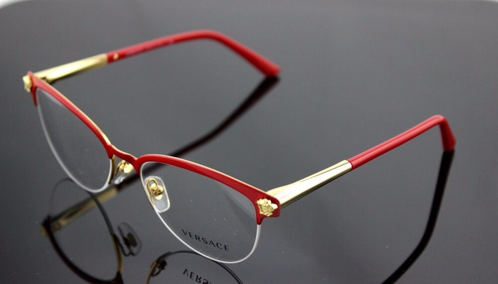 817aa61778 Details about RARE Genuine VERSACE Red Pale Gold Cat Eye Glasses Half Rim  Frame VE 1235 1376