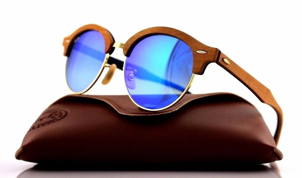 a5588f41f4a Details about RARE Genuine RAY-BAN CLUBROUND WOOD Blue Flash Lens  Sunglasses RB 4246M 1180 7Q