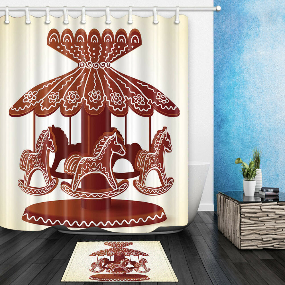 Details About Christmas Carousel Cookies Gingerbread Paradise Bathroom Fabric Shower Curtain