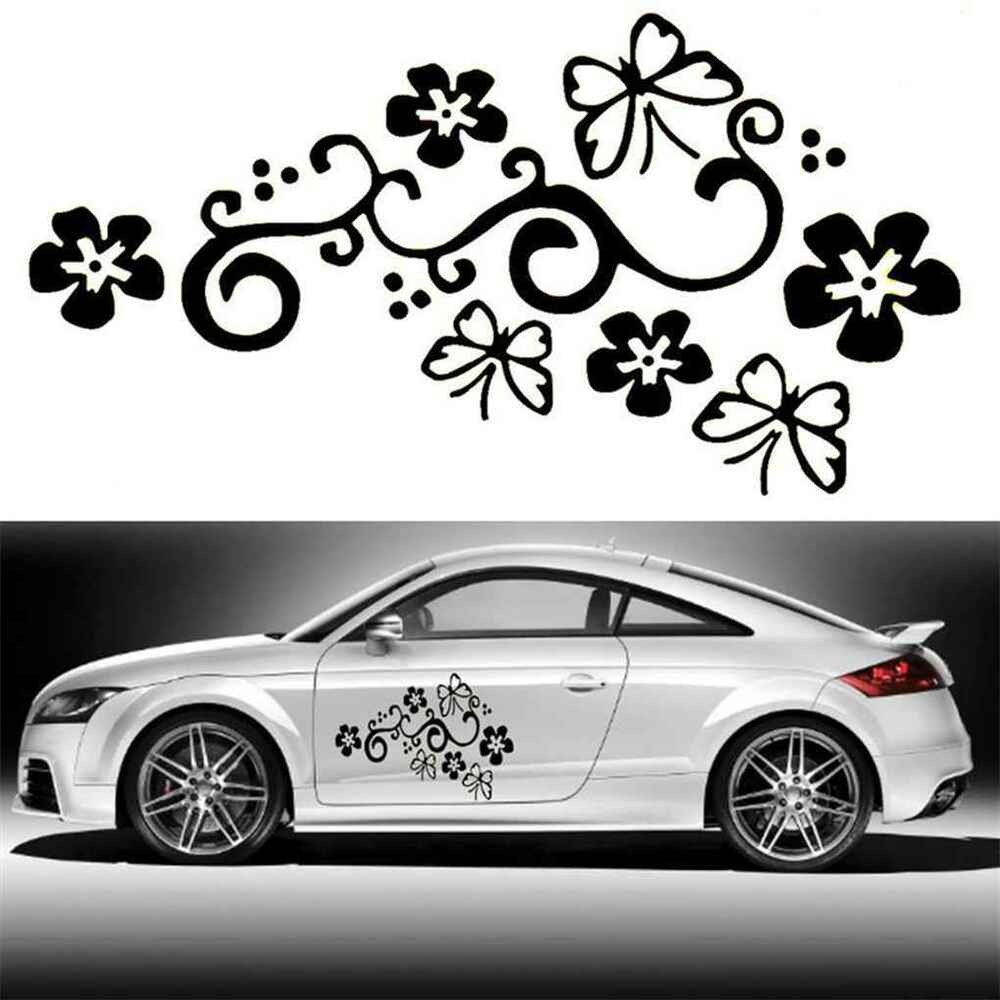 Details about 2pcs butterfly flower vinyl car graphics window stickers decal cars decorations