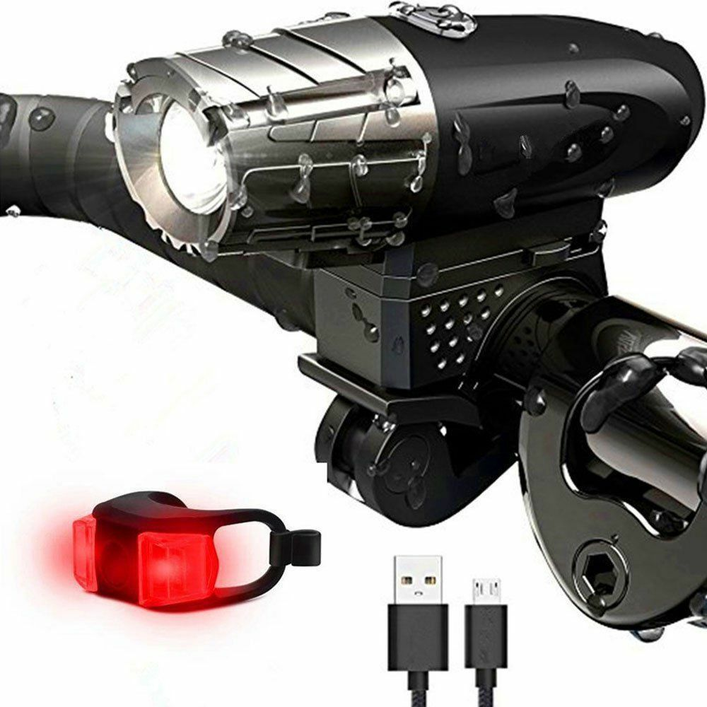 BRIGHT USB Rechargeable Bike Bicycle Cycle Front LED Rear Tail Lights Kits