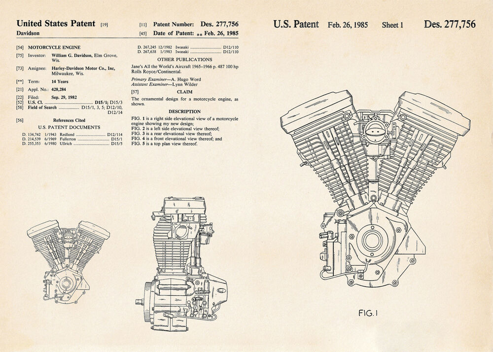Harley Gifts Motorcycle Evolution Engine Patent Art