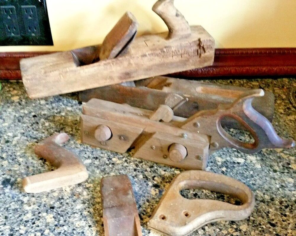 Antique Vintage Early Wood Plane Plow Plough Wood Working Tool Lot