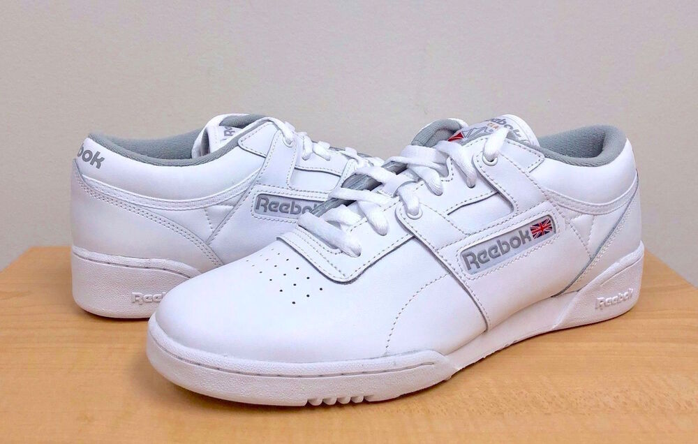 388be574ff2 Details about MENS REEBOK CLASSIC WORKOUT LOW INT CN0636 White Grey