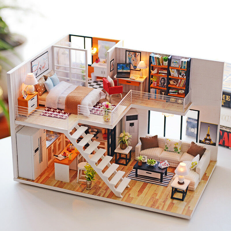 New Doll House Toy Miniature Wooden Doll House Loft With: Doll House LOFT Apartments Furniture Wooden Miniature LED
