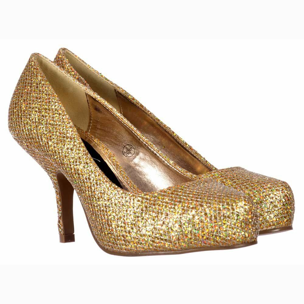b358a7e1458c NEW WOMENS LADIES LOW KITTEN HEEL COURT PARTY SHOES GOLD GLITTER UK 3-8