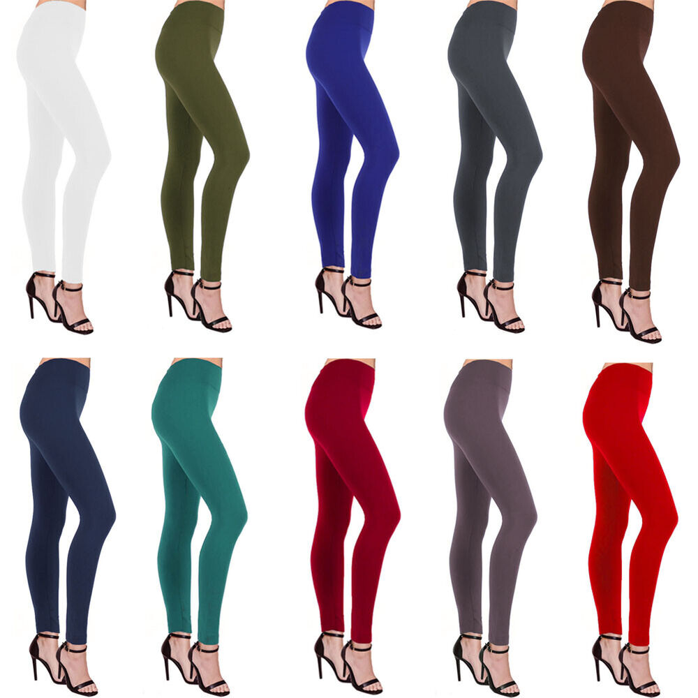 1487a983a5fbef Details about Womens Fleece Lined Leggings Nylon Winter Warm Thick Thermal  Solid Regular Color