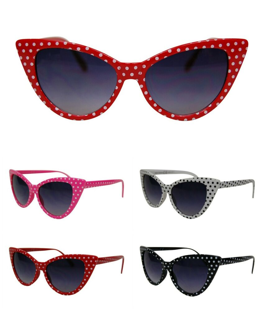 Retro Vintage Style Polka Dot Cat Eye Sunglasses 50s/60s