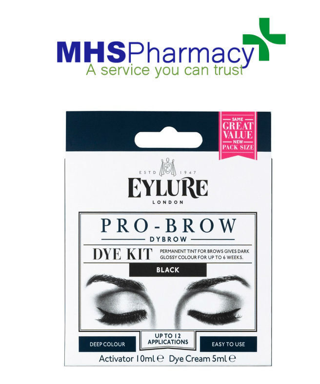 3 X Eylure Dybrow Eye Black Permanent Tint Color Eyebrow Dye Kit