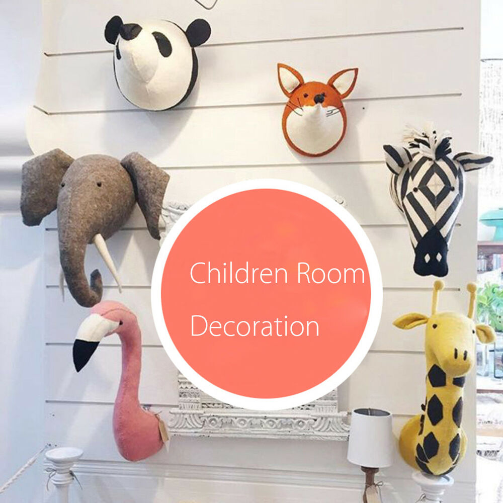 3d Felt Stuffed Animal Head Wall Hanging Children Room Decor Toy