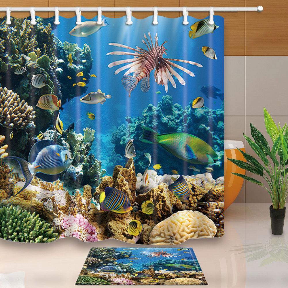 Sea Animals Underwater With Coral Reef Polyester Fabric