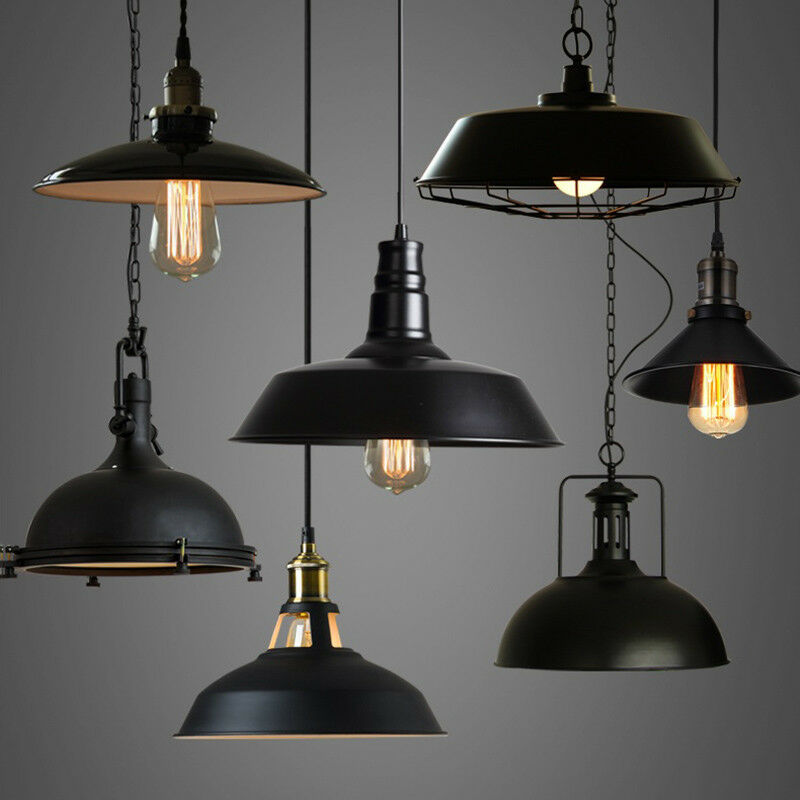 Celing Light Fixtures: Industrial Loft Warehouse Barn Pendant Lamp Indoor Hanging