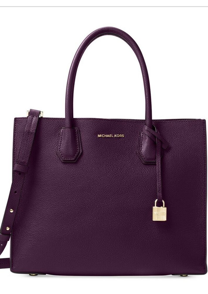 e48976717b5c Details about New MICHAEL KORS MERCER LARGE STUDIO CONVERTIBLE Damson LEATHER  BAG crossbody